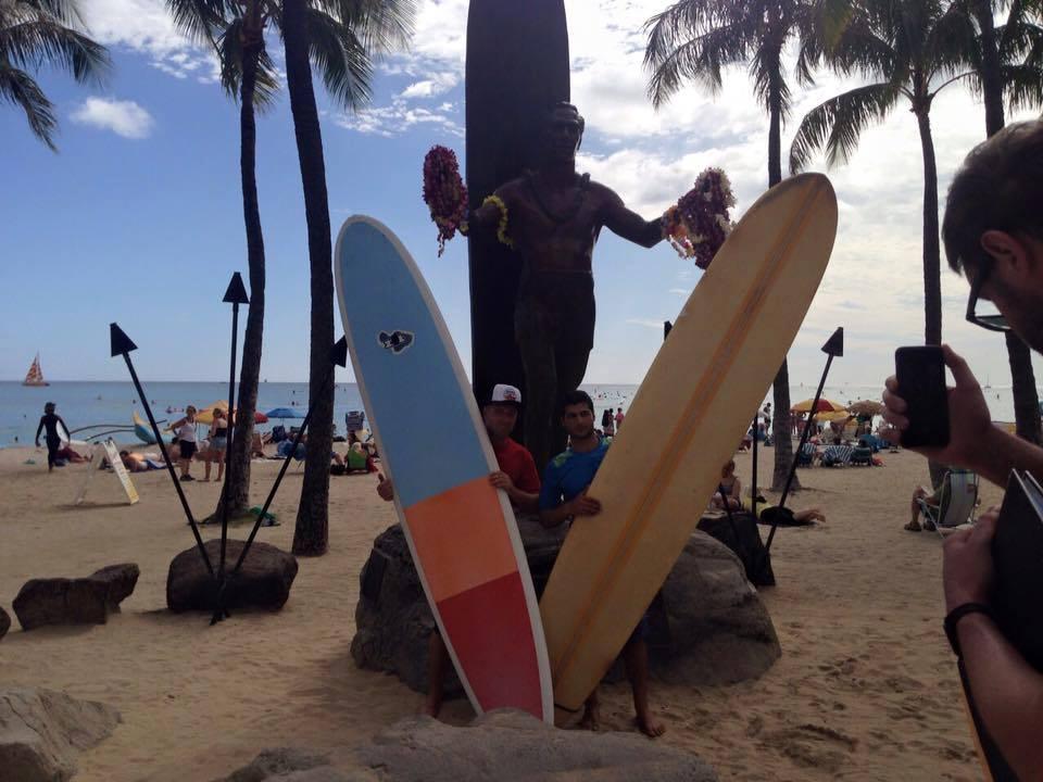 Gaza Surf Club member Ibrahim Arafat visiting Hawaii (Photo credit: Gaza Surf Club)