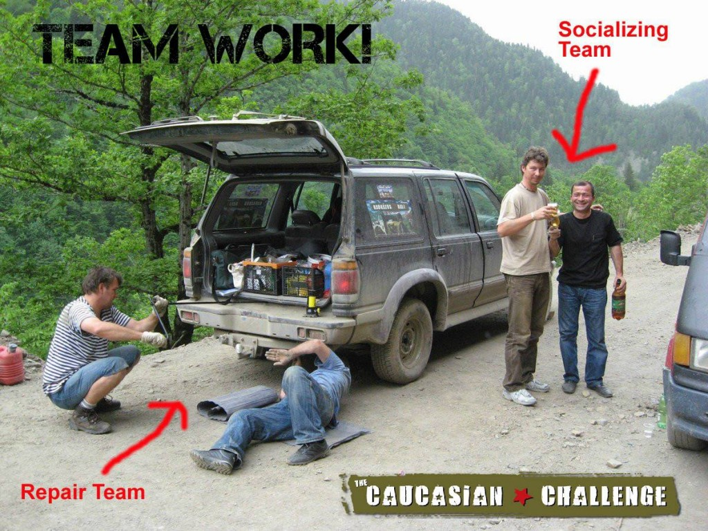 You could fix the car at the side of the road... or drink with the locals (photo by Caucasian Challenge)