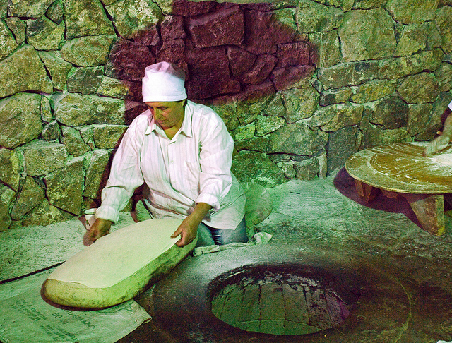 Traditional lavash bread making (photo by Shaun Dunphy)