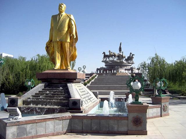 Golden statue of Saparmurat Niyazov, aka Turkmenbashi, first president of Turkmenistan