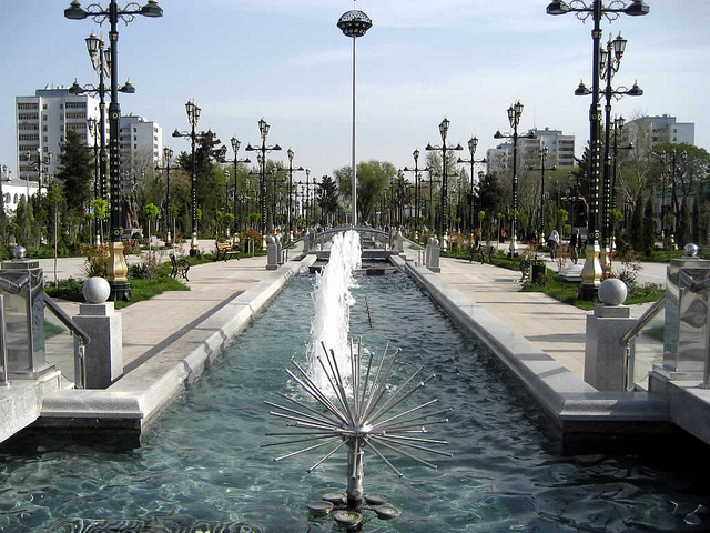 Fountains run right up the median of this boulevard in central Ashgabat,