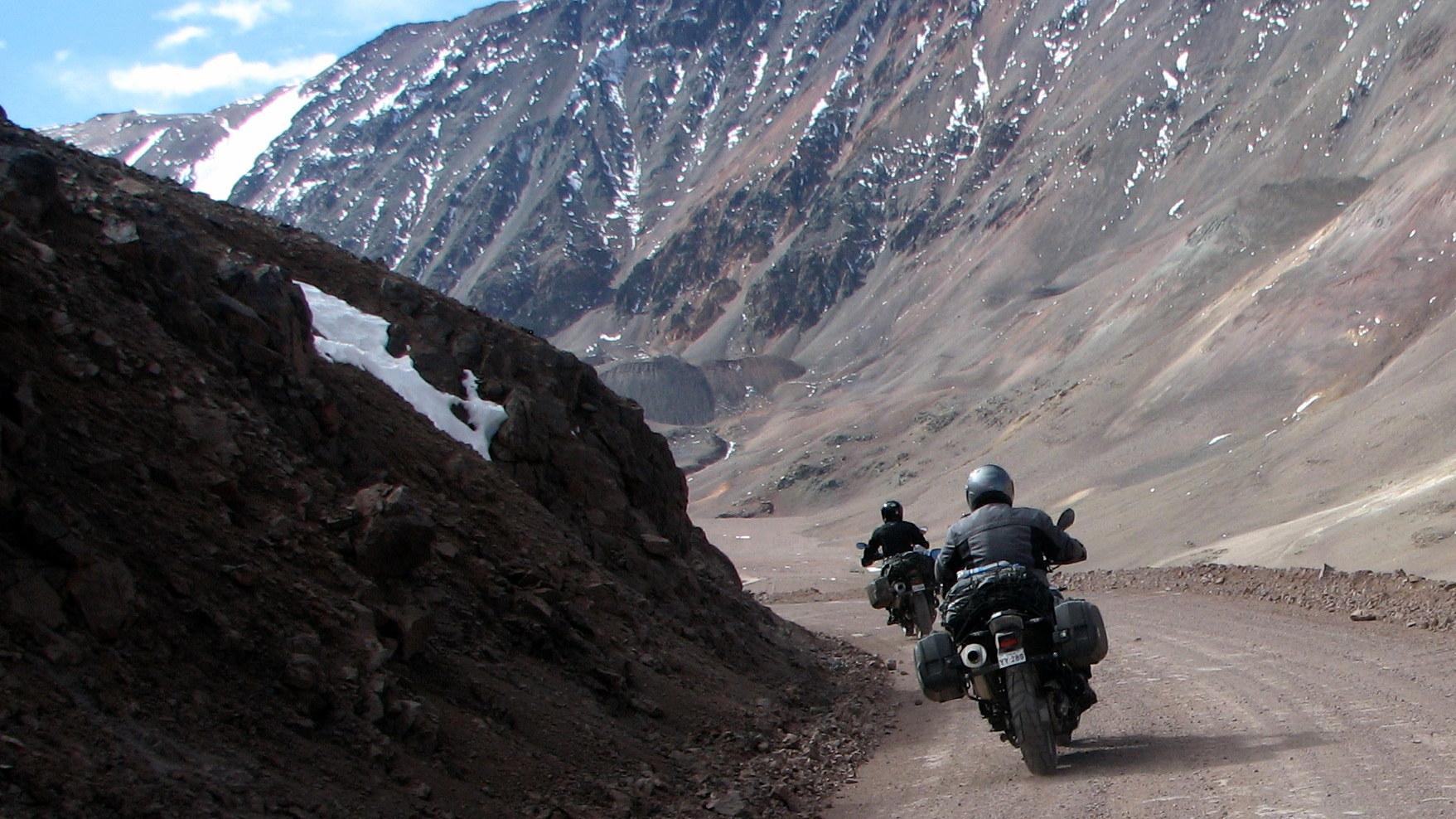 Climbing on a motorbike