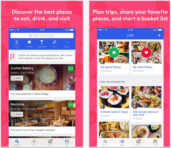 FourSquare travel apps