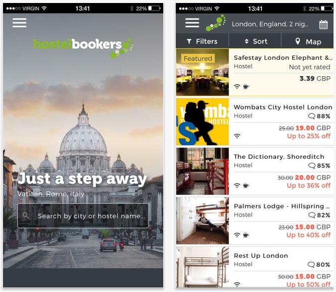 HostelBookers travel apps