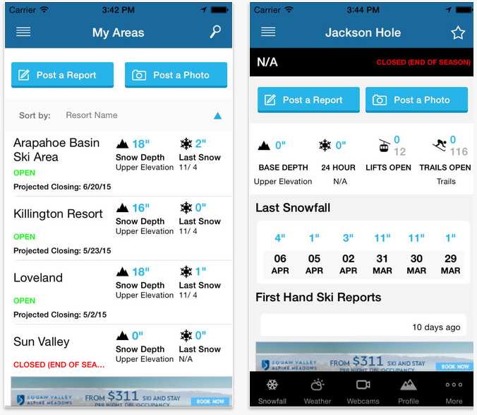 ski and snow report travel apps